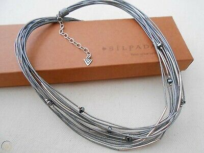 SILPADA N2146  Sterling Silver Hematite Glass Leather Cord Necklace RET