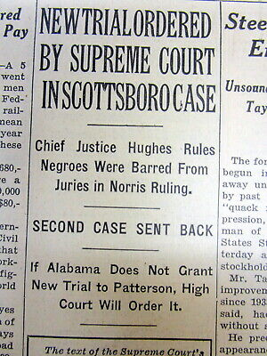 1935 NY Times newspaper US Supreme Court RULESfor new trial SCOTTSBORO BOYS CASE