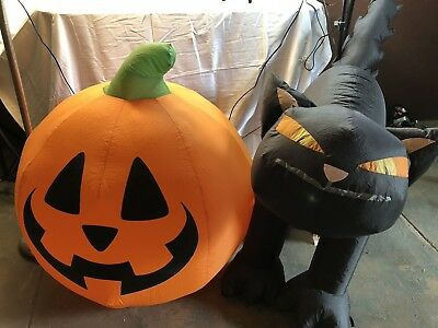 2 Pumpkin Black Cat Halloween Airblown Inflatable Yard Decor Outdoor Blow Up 2.5