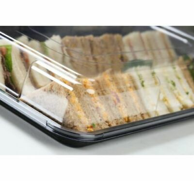 10 Medium Plastic Platter Catering Food Sandwich Trays Christmas Party With Lids