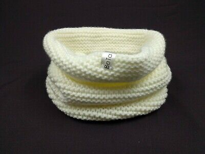 White Knitted Kids Merino Wool Scarf Warm Winter Infinity Toddlers Unisex Snood