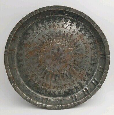 Egyptian Vintage Antique Plate Bowl Food Tray Metal Copper Egypt