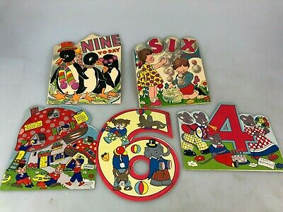Vintage - Lot Of 5 Childrens Age Birthday Greeting Cards - No Envelopes