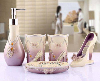 Resin Bathroom Accessories Sets 5pcs Toothbrush Tumbler Dish Soap Holder Purple