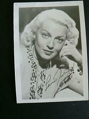 """1950s LANA TURNER 3.5"""" by 5"""" FACSIMILE PRINTED AUTOGRAPH SIGNED FAN"""