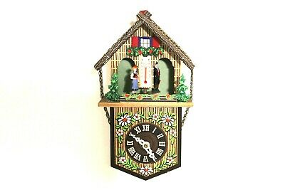 Vintage German Miniature Chalet Style Cuckoo Clock W/Thermometer, By Toggili.