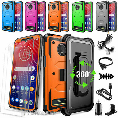 For Motorola Moto Z4 / Z3 / Z2 Play / Force Hybrid Rubber Case + Tempered Glass