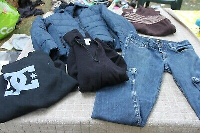 **  LOT VETEMENTS fille  T. 10 / 12 ANS  MANTEAU + PULL + JEAN / DC - H& M +++