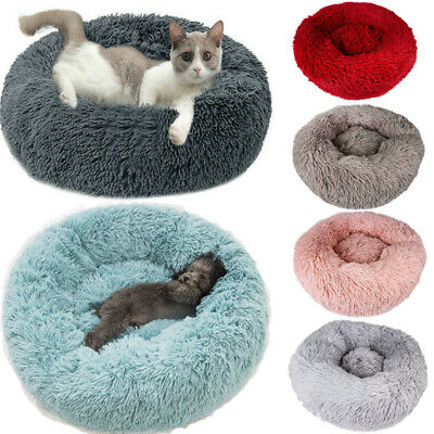 XL Comfy Calming Dog Cat Bed Round Warm Soft Plush Pet Bed Marshmallow Cat Bed 1