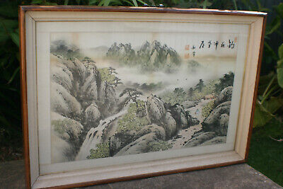 Large Chinese Ink Watercolour Landscape w/ Calligraphy Painting - Signed -Framed