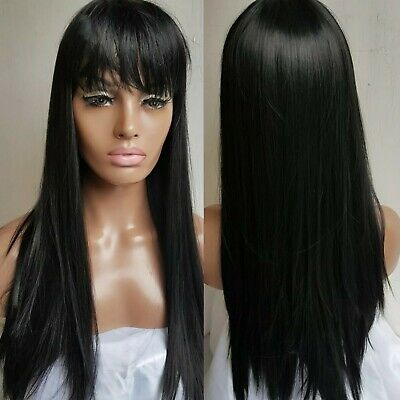 Long silky black straight #1b 26inch wig with fringe new