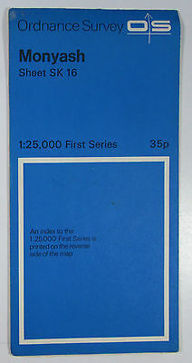 1961 old vintage OS Ordnance Survey 1:25000 First Series map SK 16 Monyash