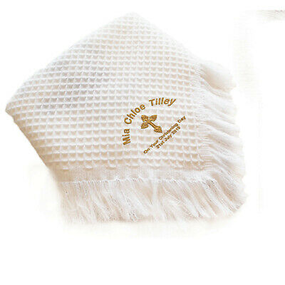 Personalised Baby Shawl Blanket Embroidered Name Date Christening/Baptism gift
