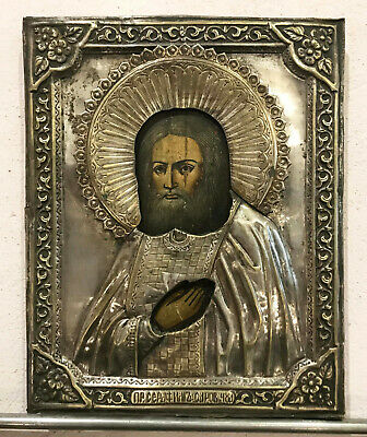 """Antique Russian Hand Painted Icon """"St.Seraphim of Sarov"""" silver plated"""