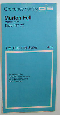 1958 old vintage OS Ordnance Survey 1:25000 First Series map NY 72 Murton Fell