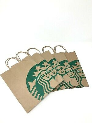5X Starbucks Reusable Brown Kraft Paper Shopping Lunch Gift Bags With Handles