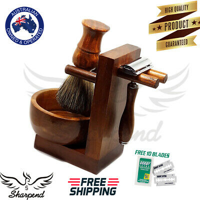 Sharpend Men Wood Shaving Set Safety Razor Stand + Bowl Synthetic Brush
