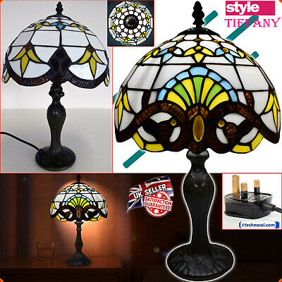 """Tiffany Style Table Lamp Handcrafted Home Decor Light 10""""Shade Glass Stained UK"""