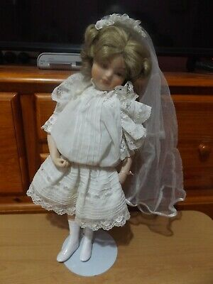 "Hamiltion Collection Pretty Little  Rose 16"" Porcelain Bride Doll 1988."