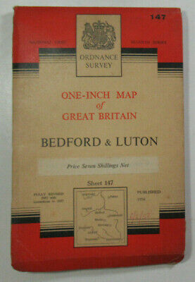 1957 Old OS Ordnance Survey Seventh Series One-Inch CLOTH Map 147 Bedford Luton