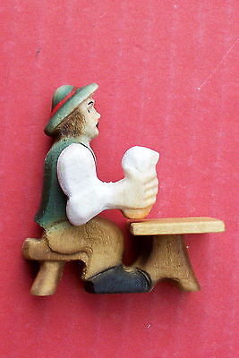 Hand carved seated German beer drinking with moving arm,   for L H side fixing.