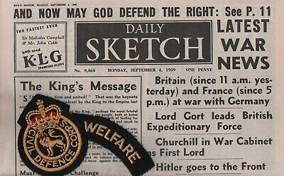WWII Newspaper DAILY SKETCH 1939 : Britain & France at War with Germany