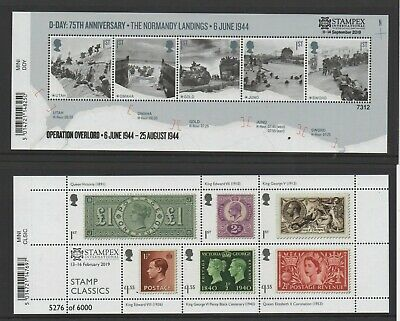 Gb 2019 Spring + Autumn Stampex Overprint Miniature Sheets Special Offer