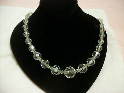 Glass Crystal Stunning Art Deco Diamond Cut VIntage Necklace With Metal Chain