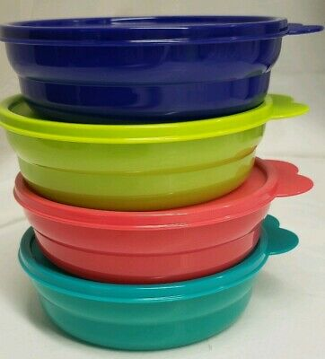 Tupperware MICROWAVE REHEATABLE CEREAL BOWLS NEW Set of 4
