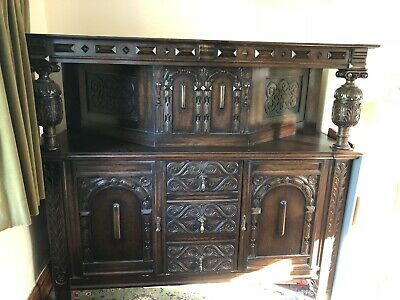 Large Jacobean Style Solid Oak Carved Court Cupboard / Sideboard