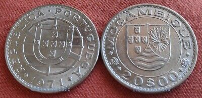20 Escudos 1971 Mozambique Portuguese Colony Colonial Coin Almost Uncirculated
