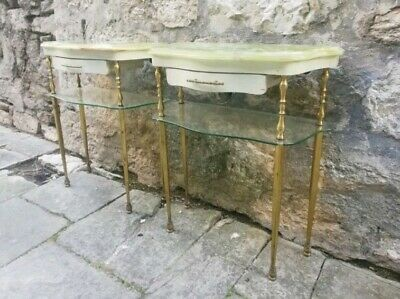 COPPIA COMODINI VINTAGE ANNI 50 HOLLYWOOD REGENCY Italian Design