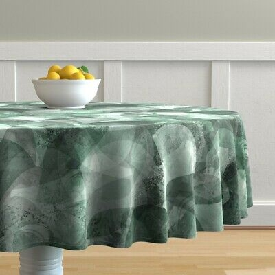 Round Tablecloth Watercolor Abstract Nautical Fan Shell Emerald Cotton Sateen