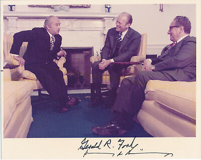 Gerald Ford and Henry Kissinger signed photograph
