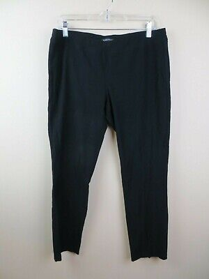 Womens black pull on stretch pants size M Eileen Fisher tapered leg