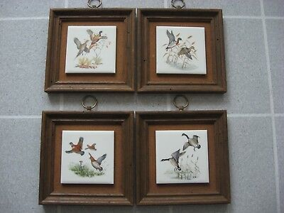 Set of 4 1950's Vintage Hunting Pheasants Geese on Tiles Wormy Chestnut Frames