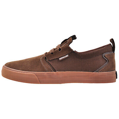 Supra Flow Men's Suede Leather Casual Retro Skate Trainers Brown