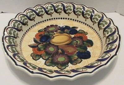 "15"" ROYAL COPENHAGEN ALUMINIA Antique FAIENCE BOWL c1918 Fruit Flowers Denmark"