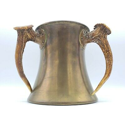 "Antique Bailey, Banks & Biddle Copper Loving Cup w/ Stag Handles ~ 7"" Tall"