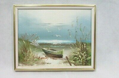"H. GAILEY OIL PAINTING ON CANVAS FRAMED 9"" X 11"" Row Boat Sea Beach Seascape"