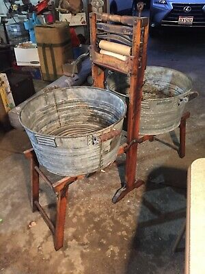 Antique Anchor Brand Clothes Wringer Folding Stand Galvanized Tubs Lovell