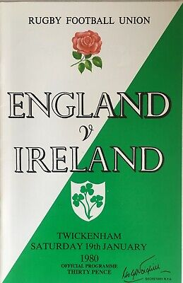 ENGLAND v IRELAND. Five Nations Rugby Union Programme 1980