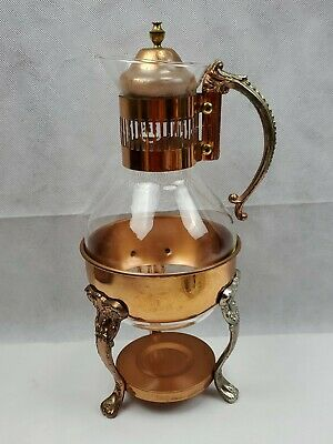 Corning Brand Copper Glass Coffee Tea Juice Pitcher With tealight Stand