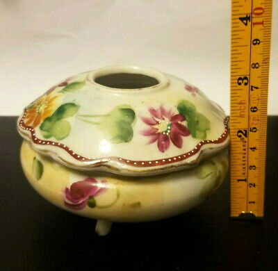 Antique Hair Receiver Vanity Dish Footed Box Japan Hand Painted