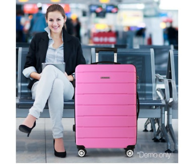 Pink Travel Suitcase Luggage Suit Case Bag Hard Shell Trolley TSA Lock Light 28""