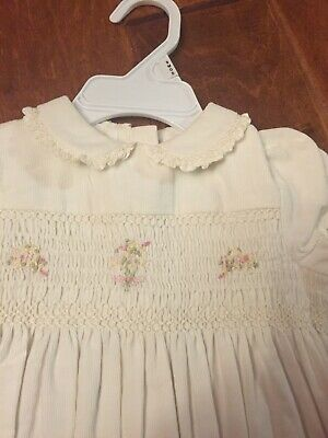 NWT Ralph Lauren Girls 9 Month Smocked Corduroy One Piece Ivory Outfit Jumpsuit