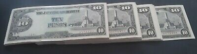 Rare 1943 Philippines Consecutive Bundle 100X10 Pesos Japanese Invasion Money