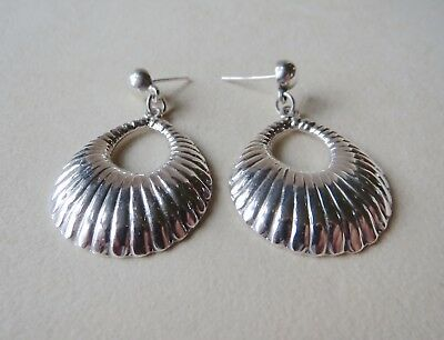 925 Sterling Silver Mexico TF-38 Scallop Clam Shell Design Earrings 13.6 Grams