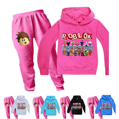 ROBLOX Children Boys Girls Casual Outfits Trouser Suit Sport Hoodie Top+Pants UK