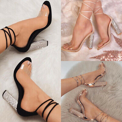 Women's Crystal High Block Heels Sandals Ladies Lace Up Strappy Party Shoes Size